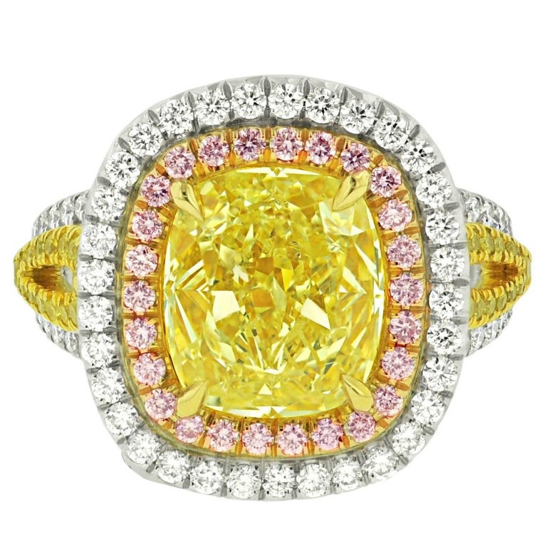 8.02 Carats Fancy Yellow Diamond Ring  For Sale