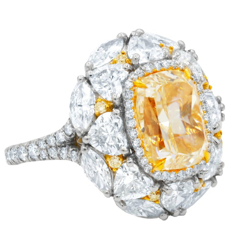 GIA Certified 5.01 Carats Canary Yellow Diamond Ring