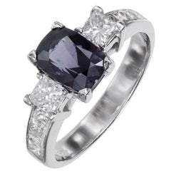 1.74 Carat Natural Purple Spinel Diamond Platinum Gold Engagement Ring
