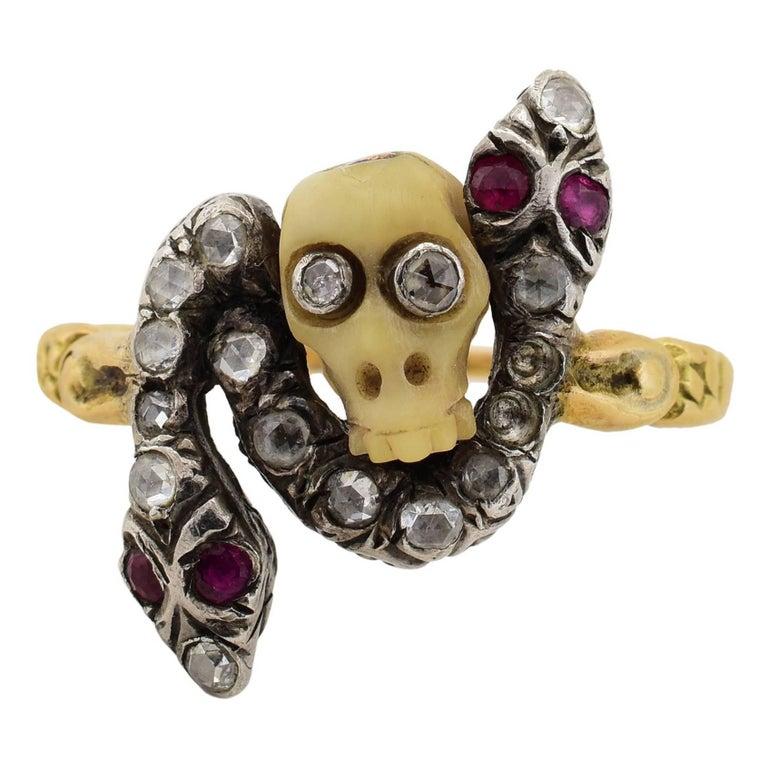 Georgian Era Snake and Skull Diamond Ruby Ring