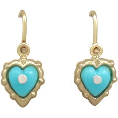 1920s Antique Turquoise and Yellow Gold Drop Earrings