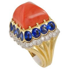 David Webb Sugarloaf Coral, Sapphire and Diamond Ring