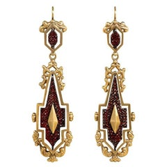 Antique Gold Day-to-Night Earrings with Garnet-Set Steel Panels