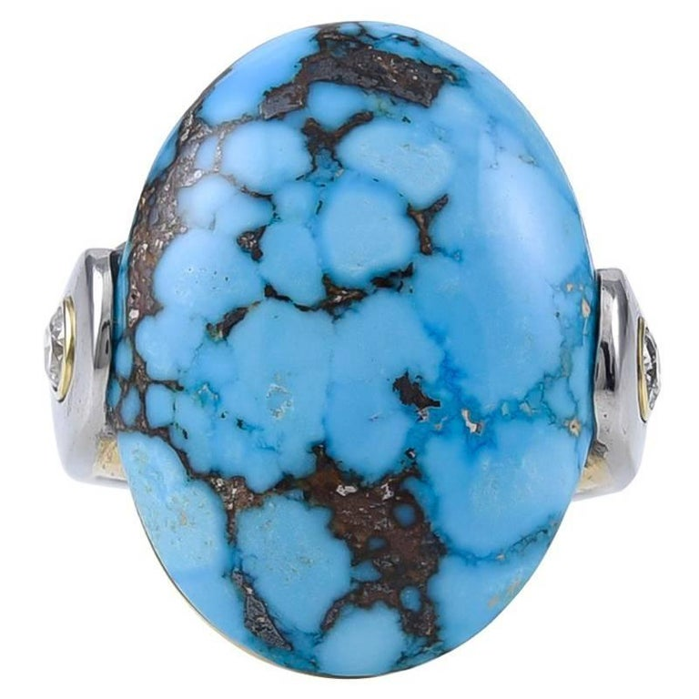 Turquoise Gold and Platinum Ring For Sale