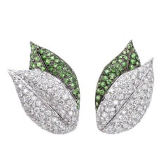 Pair of Diamond and Tsavorite Garner Leaf Earclips