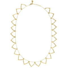 Sterling Silver Gold-Plated Lotus Shaped Motif Greek Chain Necklace