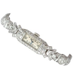 1930s Antique 5.94 Carat Diamond and Platinum Cocktail Wristwatch