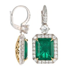 GIA Certified 9.55 Carat Colombian Emerald Earrings