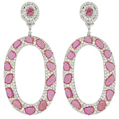 18 Karat White Gold 18.73 Carat Pink Sapphires and 11.46 Carat Diamond Earrings