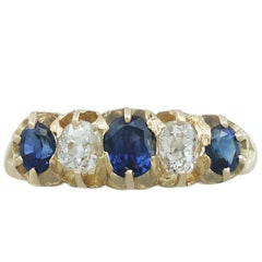 Antique Victorian Diamond and Sapphire Yellow Gold Cocktail Ring