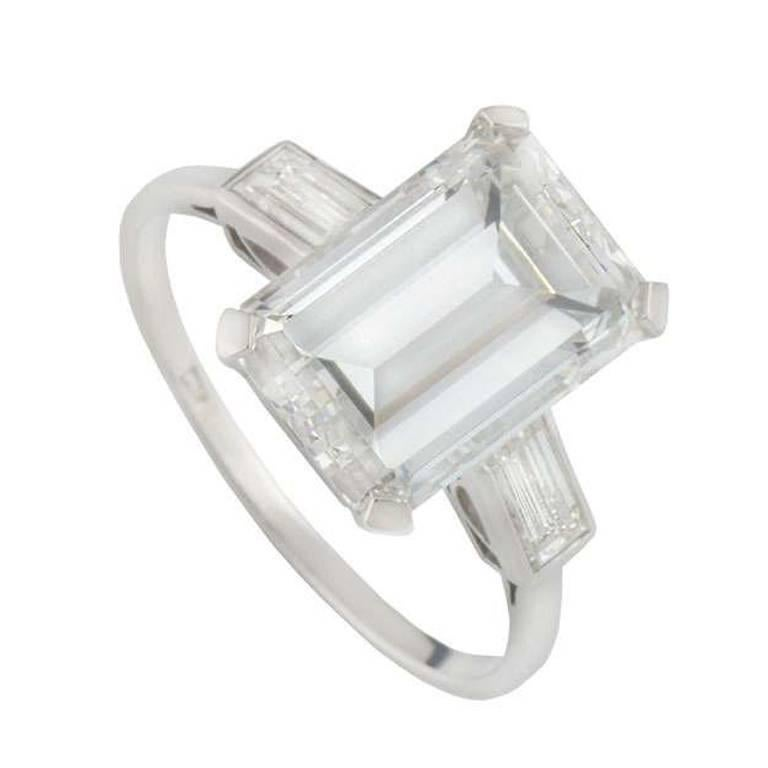 GIA Certified Emerald Cut Diamond Engagement Ring 7.02 Carat
