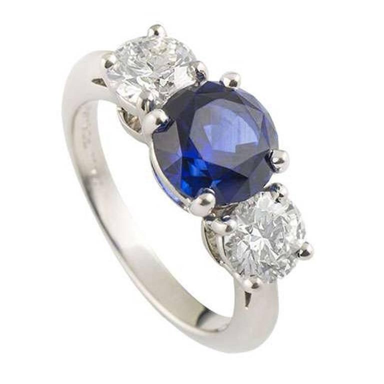 Tiffany & Co. Three Stone Diamond and Sapphire Ring