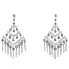 Tiffany & Co. Diamond and Aquamarine Jazz Chevron Earrings