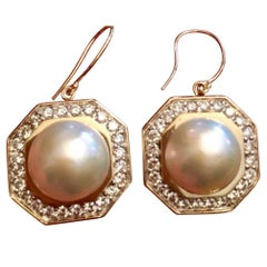 Estate 14 Karat Gold Mabe Pearl 2.40 Carat Diamond Drop Dangle Earrings