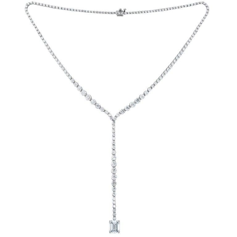 18.43 Carat Lariat Diamond Necklace, 5.03 Carat Emerald Cut Diamond Drop For Sale