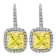 GIA Certified 4.01 Carat Fancy Yellow VVS2-VS1 Diamond Earrings