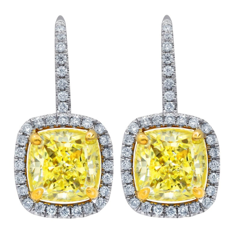 GIA Certified 4 01 Carat Fancy Yellow VVS2-VS1 Diamond Earrings