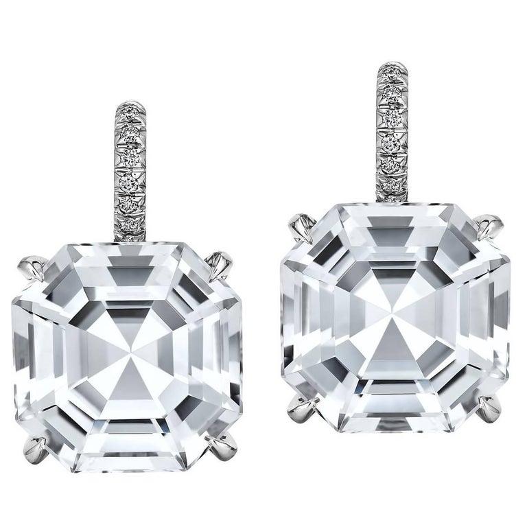 Asscher Cut White Topaz Diamond Platinum Drop Earrings