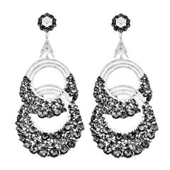 Magnificent Oversize Black and White Diamond Earrings