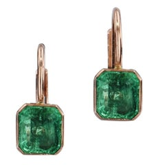 H & H 1.35 Carat Colombian Emerald Lever-Back Earrings