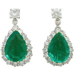 1980s Emerald and Diamond Yellow Gold Drop Earrings