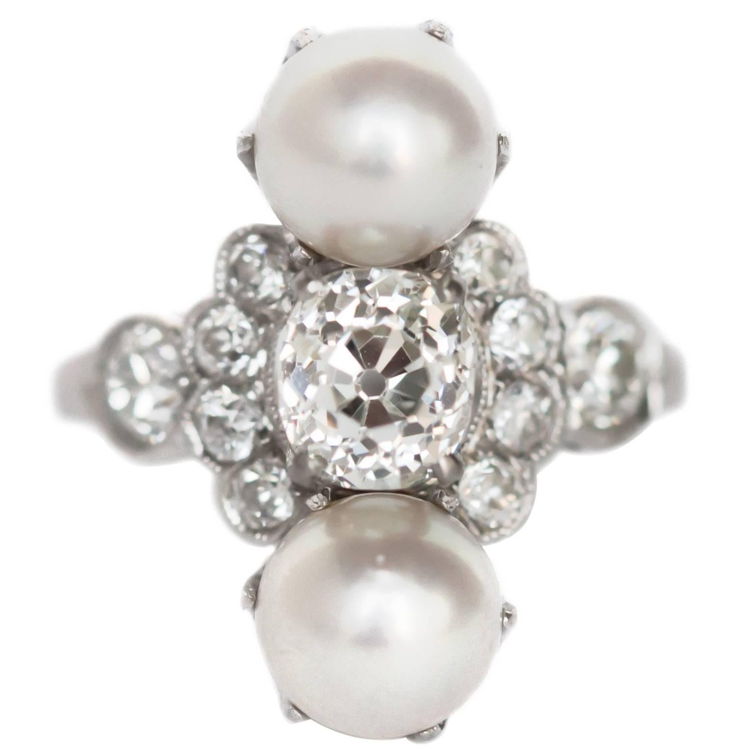 GIA Certified 1.17 Carat Diamond and Pearl Platinum Engagement Ring
