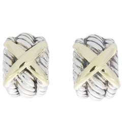 David Yurman Cable Triple Crossover Silver and Yellow Gold X Earrings
