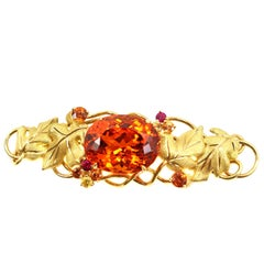 Unique Tiffany & Co Natural Spessartite Garnet Yellow Gold Leaf Motif Brooch