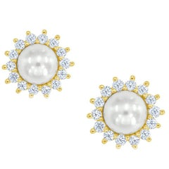 Tiffany & Co. Pearl and Diamond Yellow Gold Earrings
