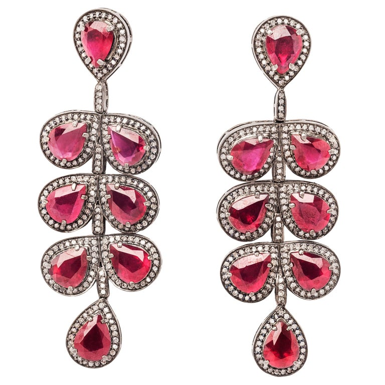 Clarissa Bronfman Ruby and Diamond Statement Chandelier Earrings  For Sale