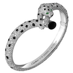 Cartier Diamond, Onyx and Emerald Panther Bangle