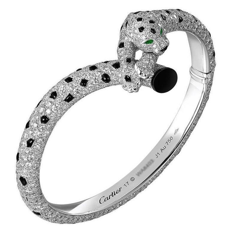 Cartier Diamond, Onyx and Emerald Panther Bangle