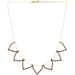 Sterling Silver Gold-Plated Enamel Lotus Shaped Motif Greek Chain Necklace