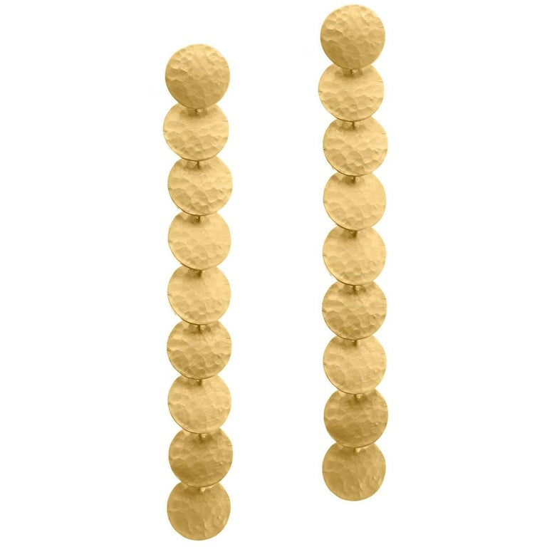 Timeless Gold-Plated Brass Coin Shaped Greek Drop Earrings