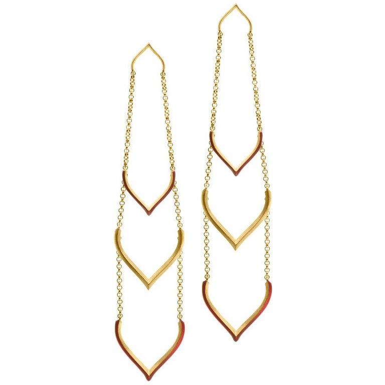 Sterling Silver Gold Plated Enamel Lotus Shaped Motif  Greek  Earrings