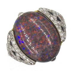 Art Deco Black Opal Diamond Coral Onyx Platinum Cocktail Ring