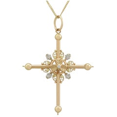 1860s Antique French 18k Rose, White and Yellow Gold Cross Pendant