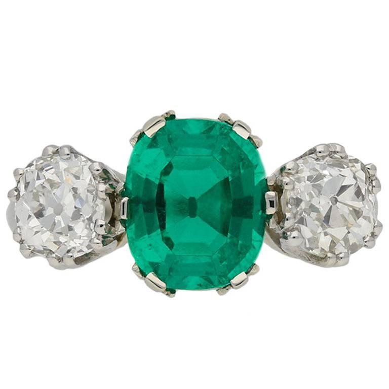 Colombian Emerald and Diamond Three-Stone Ring, circa 1910