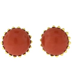 Cartier Natural Red Coral Clip On Earrings in 18 Karat Yellow Gold