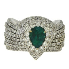 Wide Diamond and Emerald 18 Karat White Gold Ring