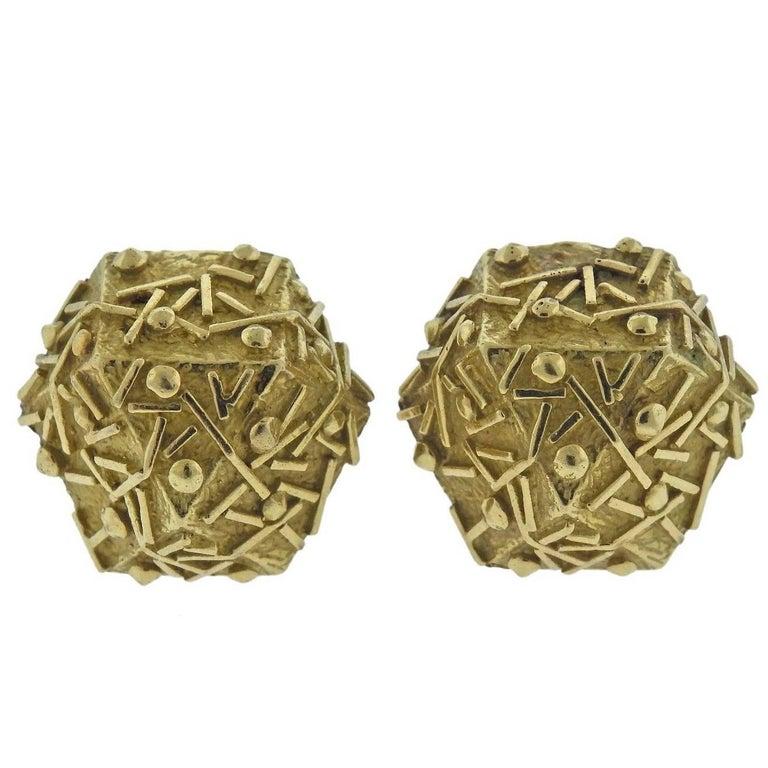 1970s Tiffany & Co. Gold Geometric Earrings