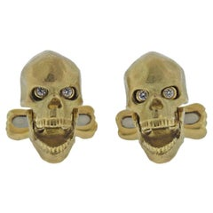 Deakin & Francis Diamond Gold Skull Cufflinks