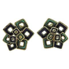 1970s Blue Green Enamel Gold Earrings