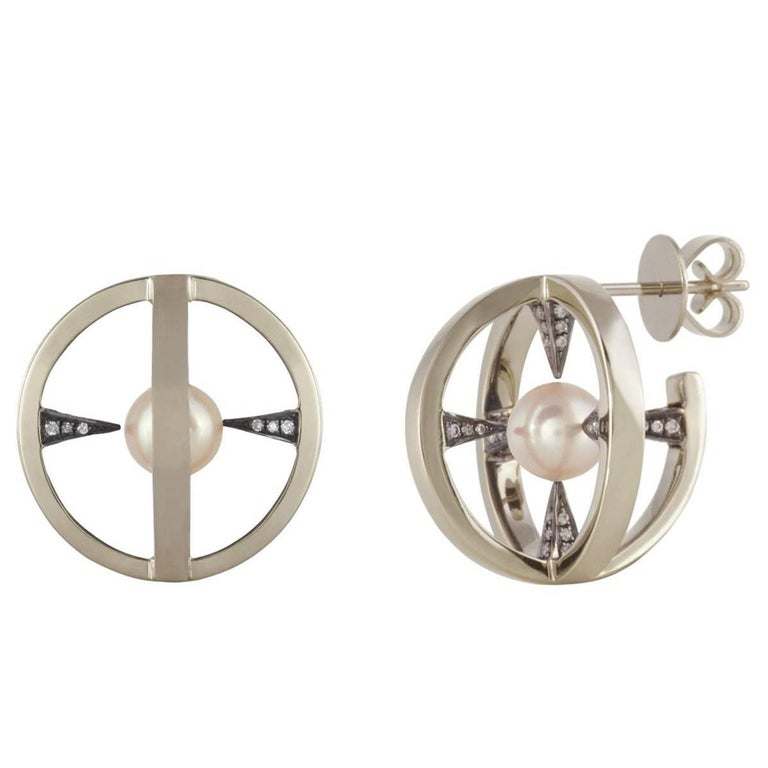 """18K Grey Gold """"Radial Creoles"""" Earrings in Black Rhodium with Nacre and Diamonds"""