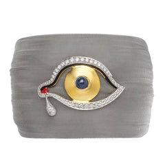 Clarissa Bronfman Silver Diamond and Sapphire 'Dali Eye Mesh' Bracelet