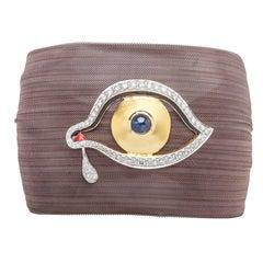 Clarissa Bronfman Bronze Diamond and Sapphire 'Dali Eye Mesh Bracelet'