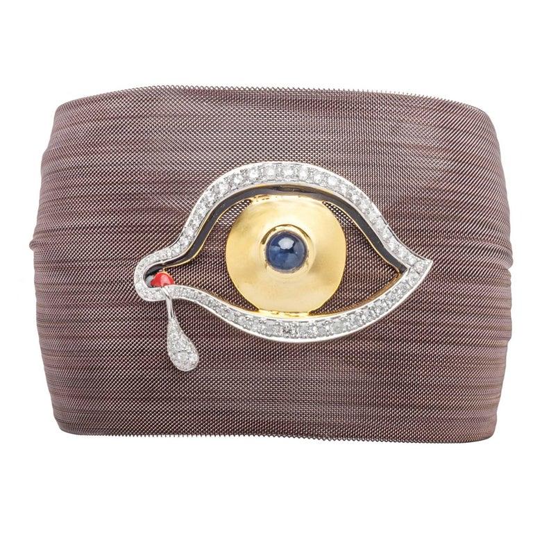 Clarissa Bronfman Bronze Diamond and Sapphire 'Dali Eye Mesh Bracelet'  For Sale