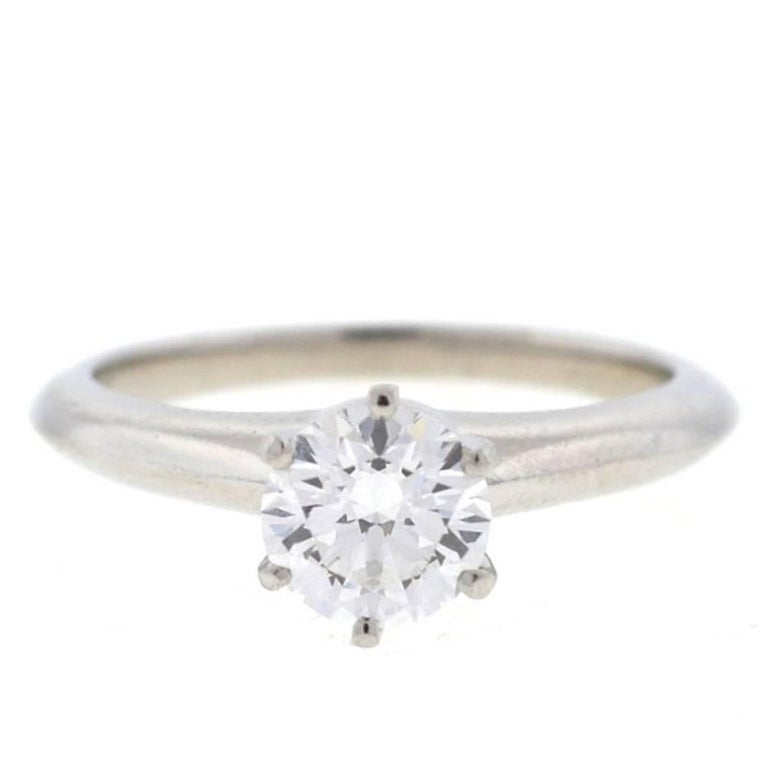Tiffany & Co. Platinum Diamond Solitaire Engagement Ring For Sale