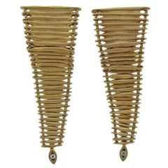 H. Stern Filaments Diamond Gold Long Earrings