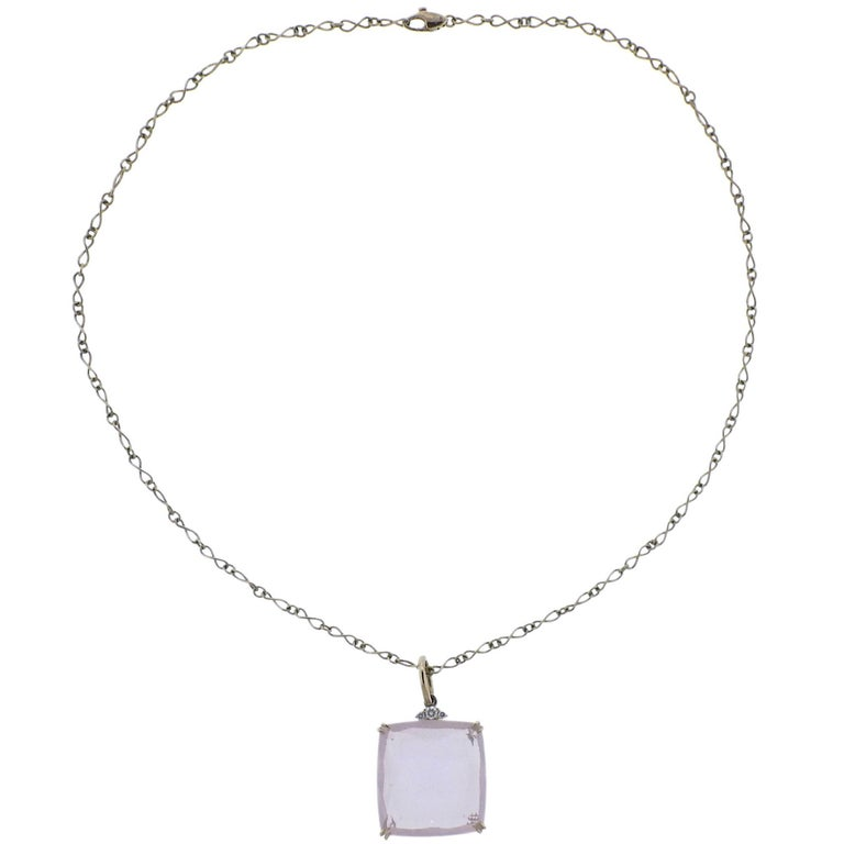 H. Stern Cobblestone Rose Quartz Diamond Gold Pendant Necklace